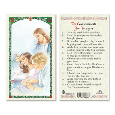 Ten Commandments for Teenagers Laminate Holy Card