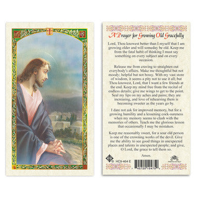 A Prayer for Growing Old Gracefully Laminate Holy Card