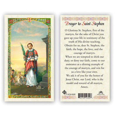 St. Stephen Laminate Holy Card