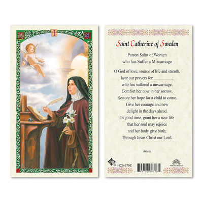 St. Catherine of Sweden Laminate Holy Card