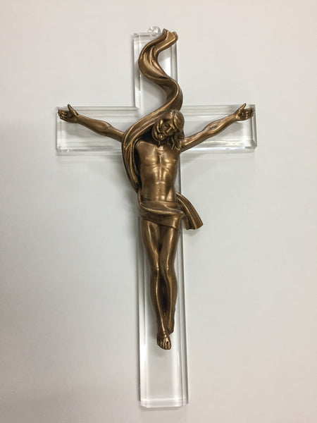 "12"" Acrylic Crucifix with Gold Corpus"