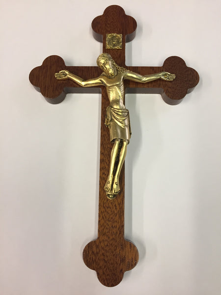 "9.5""H Budded Wooden Crucifix with Gold Corpus from Roman Inc."