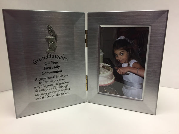 First Communion Granddaughter Hinged Satin Silver Colored Frame