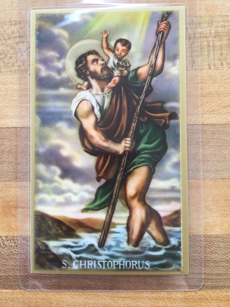 St. Christopher Prayer Before a Journey Laminate Holy Card DISCONTINUED
