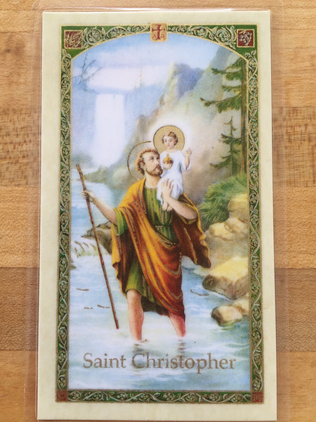 St. Christopher Laminate Holy Card