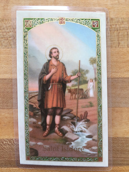 St. Isidore Patron Saint of Farmers & Gardners Laminate Holy Card