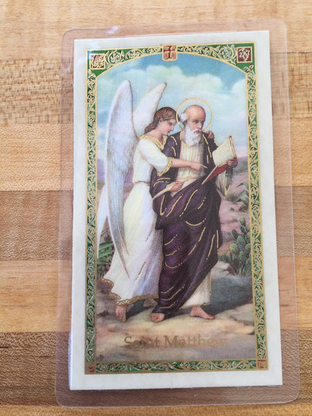St. Matthew the Apostle Laminate Holy Card