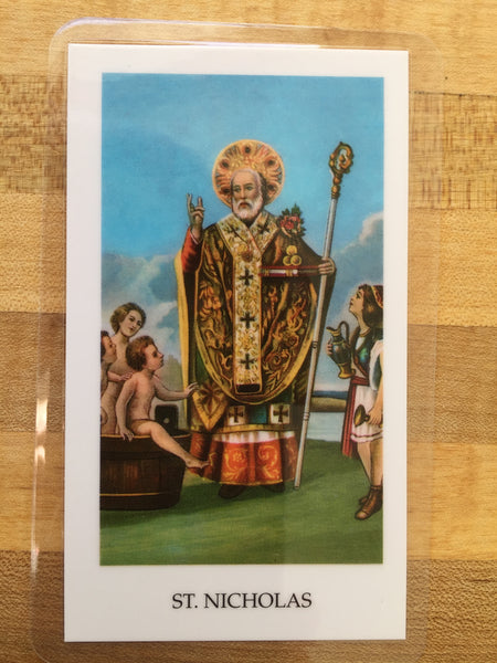 St. Nicholas A Prayer for Children Laminate Holy Card DISCONTINUED