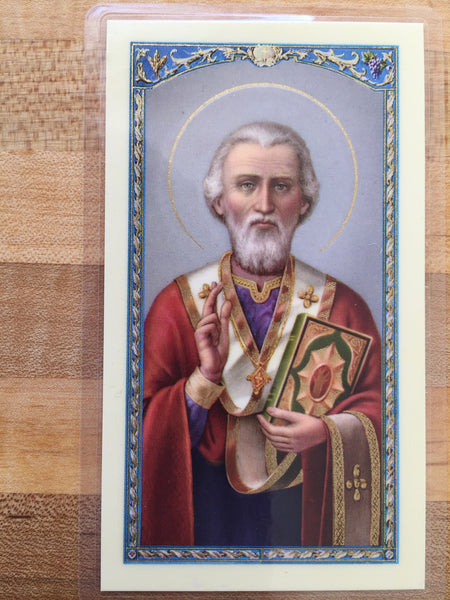 St. Nicholas A Prayer for Children Laminate Holy Card