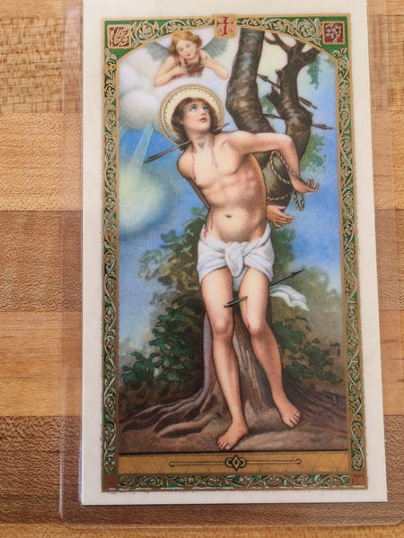 St. Sebastian Patron of Athletes Laminate Holy Card