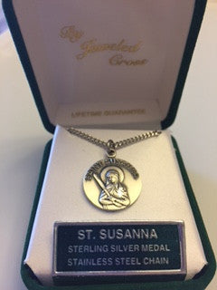 St. Susanna Sterling Silver Medal from Jeweled Cross
