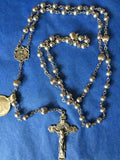 7mm Silver Bead Rosary, Sterling Silver wire, chain, crucifix, centerpiece, gift box, and Praying the Rosary Book
