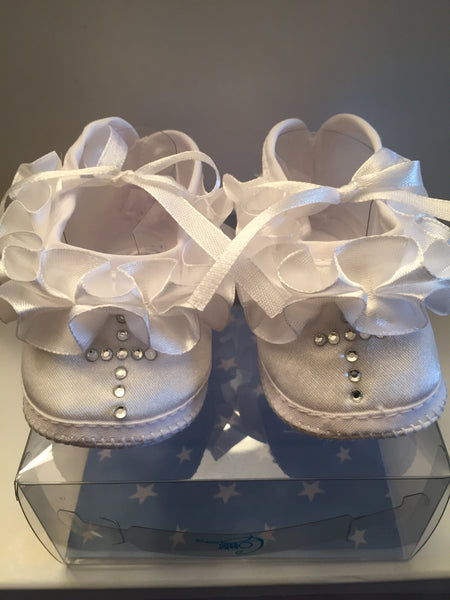 Baptism Baby Shoe Size 1 with Rhinestone Cross B556C