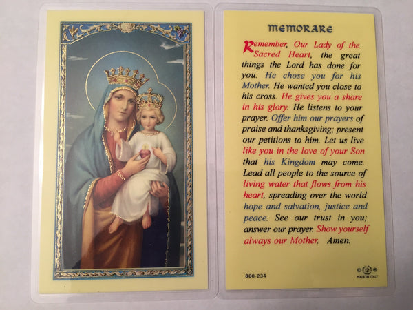 Memorare Laminate Holy Card