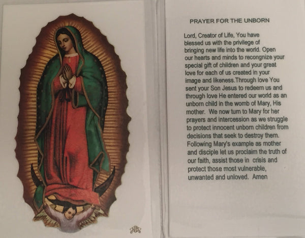Prayer for the Unborn Holy Card Laminate