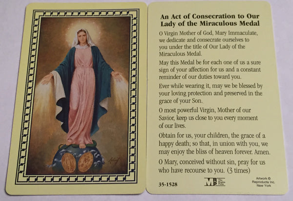 Miraculous Medal Consecration Holy Card Laminate