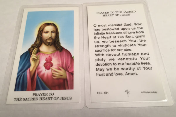 Prayer to the Sacred Heart of Jesus Holy Card Laminate