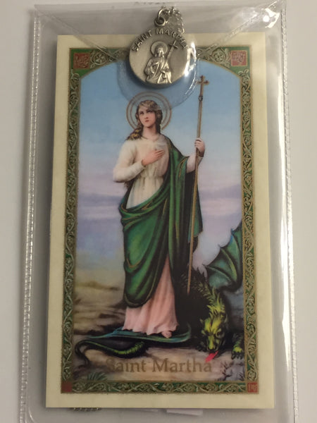 St. Martha Pewter Medal Necklace with Holy Card