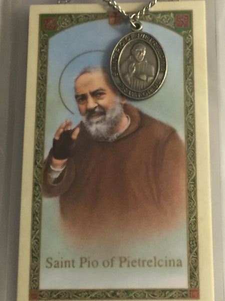 St. Padre Pio Pewter Medal Necklace with Holy Card