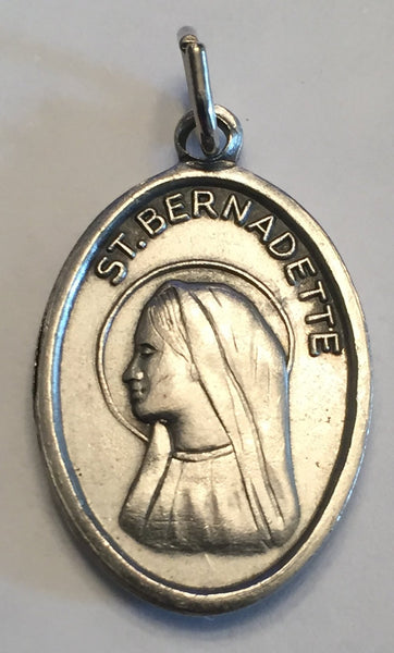 St. Bernadette with Third Class Relic Oxidized Medal