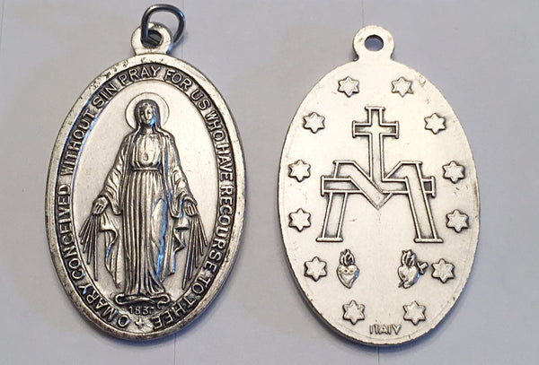 Miraculous Medal - 1-1/2 inch Double Sided Medal Oxidized