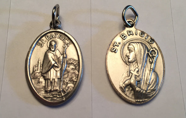 St. Patrick / St. Bridget - 1 inch Double Sided Medal Oxidized