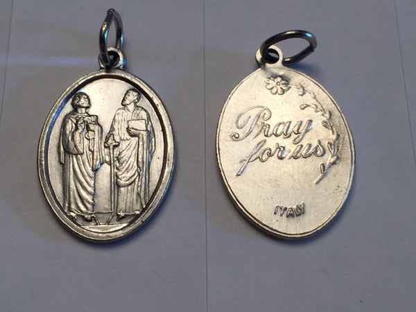 St Peter & St. Paul - 1 inch Pray for Us Medal Oxidized