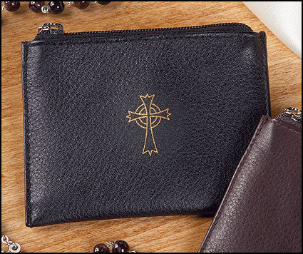 Rosary Case-Black Leather Zippered