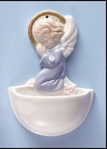 Praying Angel Holy Water Font in Blue