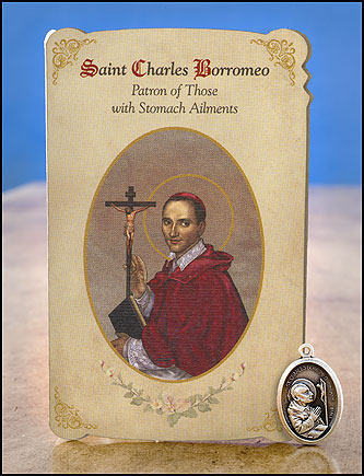 St. Charles Borromeo Stomach Healing Medal Set