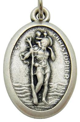 St Christopher - 1 inch Pray for Us Oxidized Medal