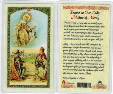 Prayer to Our Lady, Mother of Mercy Laminate Holy Card
