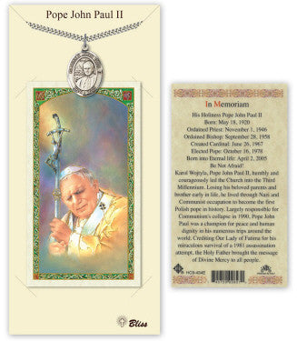 Pewter Saint John Paull II Necklace with Prayer Card