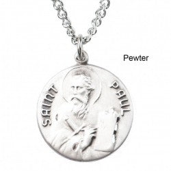 St. Paul Pewter Medal Necklace with Holy Card