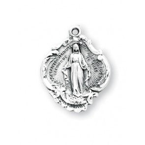 Sterling Silver Fancy Baroque Style Miraculous Medal S116018
