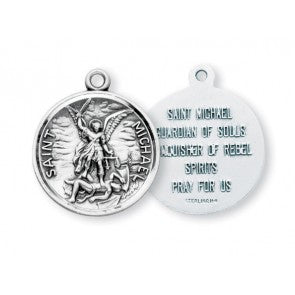 Saint Michael Round Sterling Silver Medal S1601