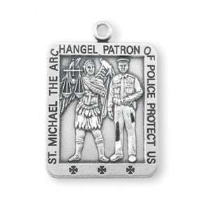 St Michael with Police Office Square Sterling Silver Metal S1624