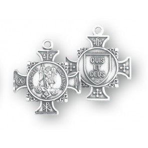 "Saint Michael 7/8"" Sterling Silver Maltese Cross"