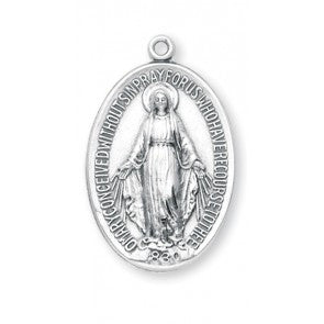 "Sterling Silver 1-1/2"" Oval Miraculous Medal S310627"