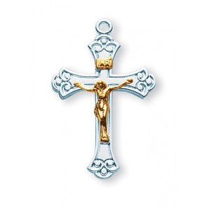 Sterling Silver Two Toned Swirled Crucifix