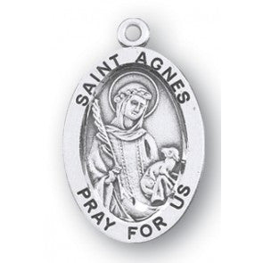 Saint Agnes Oval Sterling Silver Medal