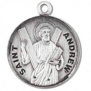 "Saint Andrew 7/8"" Round Sterling Silver Medal"