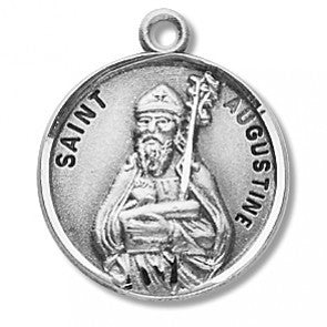 "Saint Augustine 7/8"" Round Sterling Silver Medal"