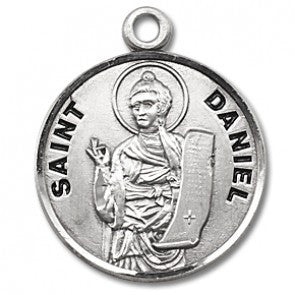 "Saint Daniel 7/8"" Round Sterling Silver Medal"