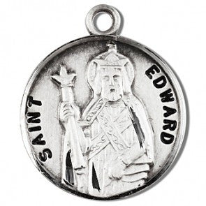 "Saint Edward 7/8"" Round Sterling Silver Medal"