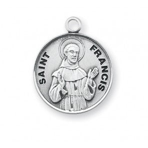 Saint Francis Round Sterling Silver Medal