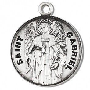 "Saint Gabriel 7/8"" Round Sterling Silver Medal"