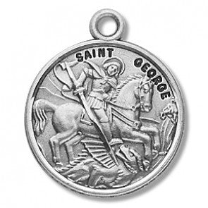 "Saint George 7/8"" Round Sterling Silver Medal"