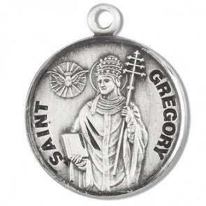 "Saint Gregory 7/8"" Round Sterling Silver Medal"