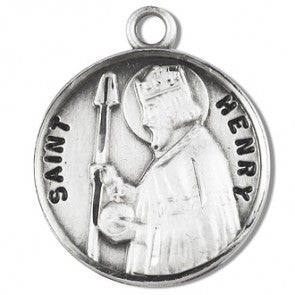 "Saint Henry 7/8"" Round Sterling Silver Medal"